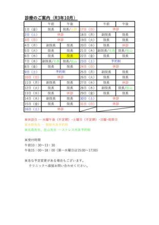 R310月 外来予定表のサムネイル